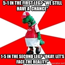"""Arsenal Dinosaur - 5-1 in the first leg? """"we Still Have a  chance"""" 1-5 in the second leg? """"okay, let's face the reality"""""""
