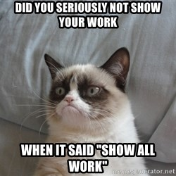 """Grumpy cat 5 - Did you seriOusly not Show your work When it said """"show all work"""""""
