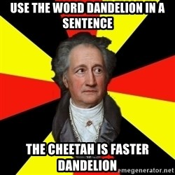 Germany pls - Use the word dandelion in a sentence the cheetah is faster dandelion