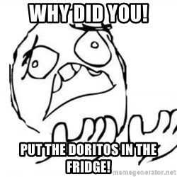 WHY SUFFERING GUY - why did you! put the doritos in the fridge!