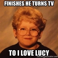 60 Year-Old Girl - Finishes he turns tv To I love lucy