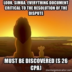 porcodioooooooooo - look, simba, everything document critical to the resolution of the dispute must be discovered (s 26 CPA)