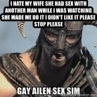 Skyrim Meme Generator - i hate my wife she had sex with another man while i was watching she made me do it i didn't like it please stop please