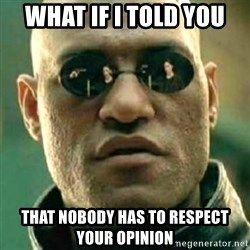 what if i told you matri - what if I told you that nobody has to respect your opinion