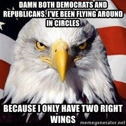 Freedom Eagle  - damn both democrats and republicans. i've been flying around in circles because i only have two right wings