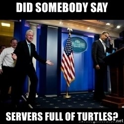 Inappropriate Timing Bill Clinton - Did somebody say Servers full of turtles?