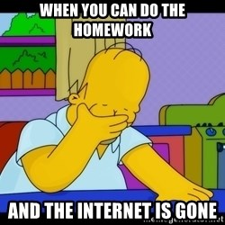 Homer Facepalm - When you can do the homework And the internet is gone