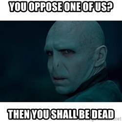 Angry Voldemort - You oppose one of us? Then you shall be dead