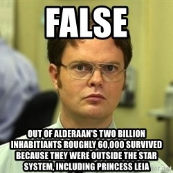 False guy - False out of alderaan's two billion inhAbitiants roughly 60,000 survived because they were outside the star system, including princess Leia