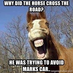 Horse - Why did the horse cross the road? He was trying to avoid marks car..