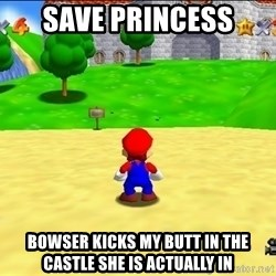 Mario looking at castle - save princess bowser kicks my butt in the castle she is actually in