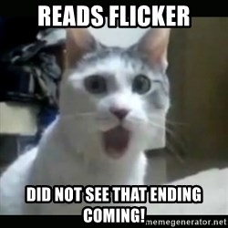 Surprised Cat - reads flicker Did not see that ending coming!