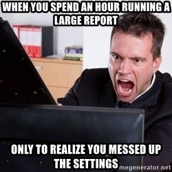 Angry Computer User - When you spend an hour running a large report only to realize you messed up the settings