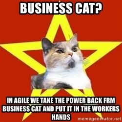 Lenin Cat Red - BUSINESS CAT? IN AGILE WE TAKE THE POWER BACK FRM BUSINESS CAT AND PUT IT IN THE WORKERS HANDS