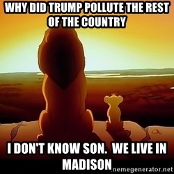 simba mufasa - why did trump pollute the rest of the country I don't know son.  we live in madison