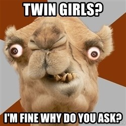 Crazy Camel lol - TWIN GIRLS? I'm fine why do you ask?