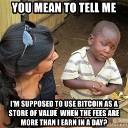 you mean to tell me black kid - You mean to tell me I'm supposed to use Bitcoin as a store of Value  when the fees are more than I earn in a day?
