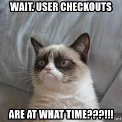 Grumpy cat 5 - Wait. User checkouts Are at what time???!!!