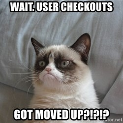 Grumpy cat 5 - Wait. User checkouts Got moved up?!?!?