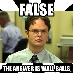 Dwight from the Office - False The answer is Wall Balls
