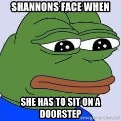 Sad Frog Color - Shannons face when  She has to sit on a doorstep