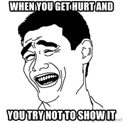 Asian Troll Face - When you get hurt and You try not to show it