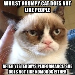 Grumpy Cat 2 - WhiLst gruMpy cat does not like people After yesteRdays peRformance, she does not like komodos either