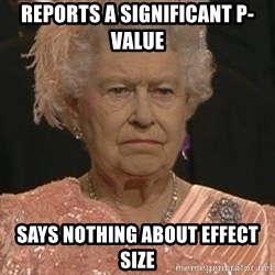 Queen Elizabeth Meme - reports a significant p-value says nothing about effect size