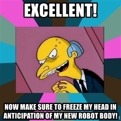 Mr. Burns - Excellent! Now make sure to freeze my head in anticipation of my new robot body!