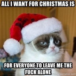 Grumpy Cat Santa Hat - All I want for christmas is for everyone to leave me the fuck alone