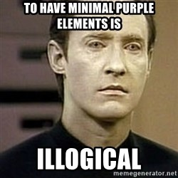 Star Trek Data - To have minimal purple elements is illogical
