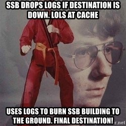 Karate Kyle - SSB drops logs if destination is down. lols at cache uses logs to burn ssb building to the ground. final destination!