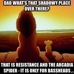 simba mufasa - Dad what's that shadowy place over there? that is resistance and the arcadia spider - it is only for bassheads