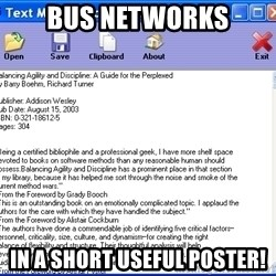 Text - BUs networks in a short useful poster!