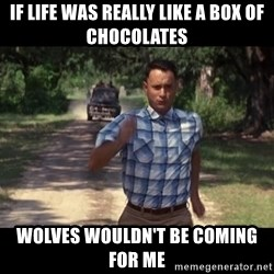 run forest - if life was really like a box of CHOCOLATES  wolves WOULDN'T be coming for me