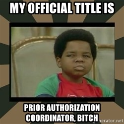 What you talkin' bout Willis  - My official title is prior authorization coordinator, bitch