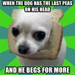 Taco Bread - when the dog has the last peas on his head and he begs for more