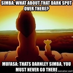 simba mufasa - Simba: what about that dark spot over there? Mufasa: thats darnley simba, you must never go there