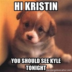 cute puppy - Hi Kristin You should see Kyle tonight