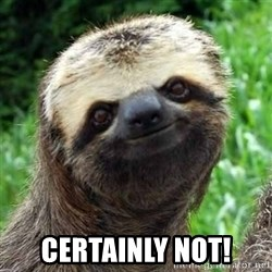 Sarcastic Sloth -  Certainly not!