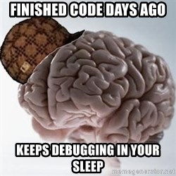 Scumbag Brain - Finished code days ago keeps debugging in your sleep