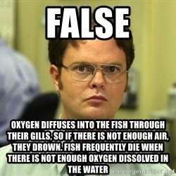 False guy - FALSE OXYGEN DIFFUSES INTO THE FISH THROUGH THEIR GILLS, SO IF THERE IS NOT ENOUGH AIR, THEY DROWN. FISH FREQUENTLY DIE WHEN THERE IS NOT ENOUGH OXYGEN DISSOLVED IN THE WATER