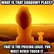 The Lion King - What is that shadowy place? That is the pricing logic. You must never touch it.