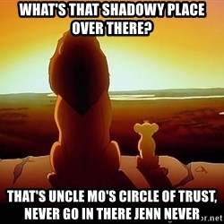 simba mufasa - What's that shadowy place over there? That's uncle mo's circle of trust, never go in there jenn never
