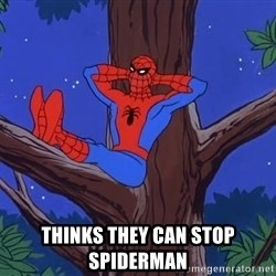 Spiderman Tree -  THINKS THEY CAN STOP SPIDERMAN