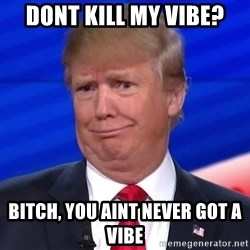 trumpdon'tcare2 - dont kill my vibe? Bitch, you aint never got a vibe