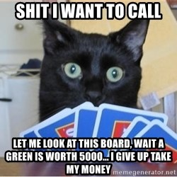 Poker Cat - Shit i want to call Let me Look at this board, wait a Green is worth 5000... I give up take my money