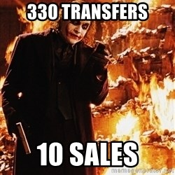 It's about sending a message - 330 TRANSFERS 10 SALES