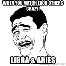 Dumb Bitch Meme - When you match each others crazy! Libra & Aries
