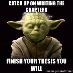 ProYodaAdvice - catch up on writing the chapters Finish your thesis you will